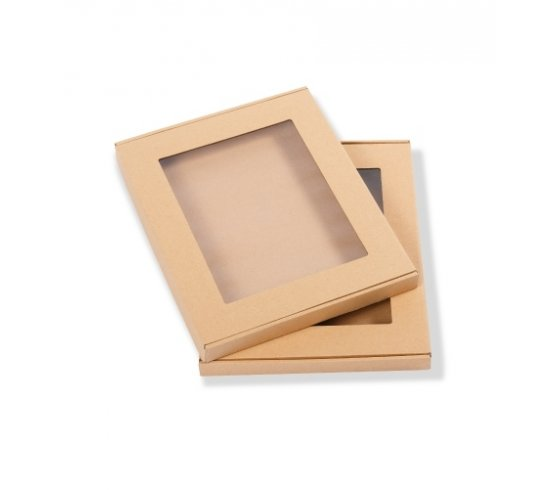 Ajándék doboz fedövel, átlátszó szín, 310 x 250 x 25 mm méret